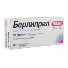 Berlipril Plus (Hydrochlorothiazide + Enalapril) 25mg + 10mg 30 tablets